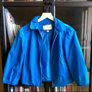 Banana Republic aqua zip up cropped jacket